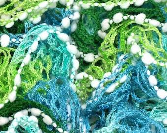 scarf ruffle edge green trio white tassels - handmade