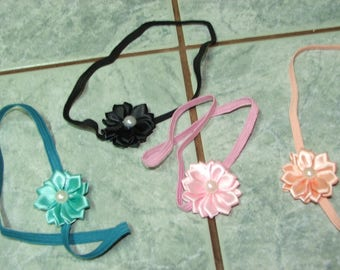 Headband for baby and girl from 3 months - elastic with flower and Pearl