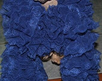 Handmade: lace ruffle scarf - blue collar 26735