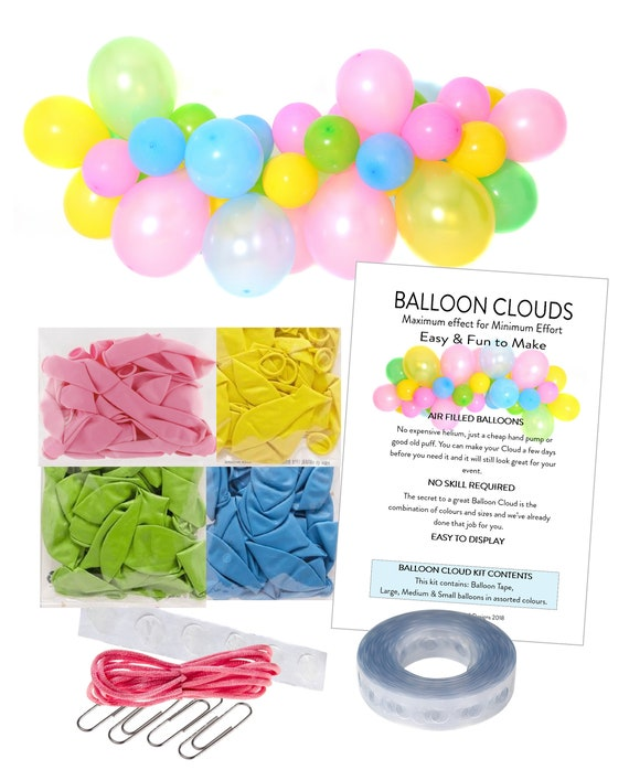 4ft Pastel Unicorn Party Balloon Cloud Garland String DIY Making Kit - No  Helium Required