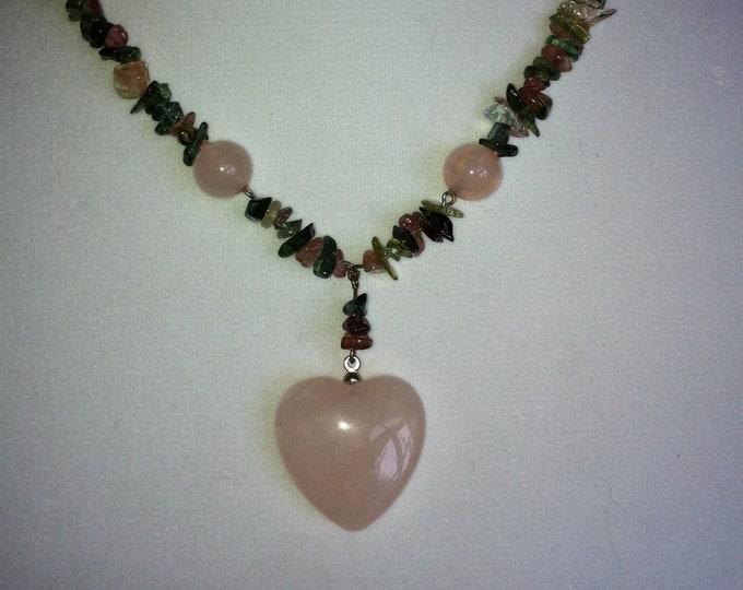 Watermelon Tourmaline Necklace, Tourmaline Necklace, Rose Quartz Heart Necklace, Pink Quartz Heart Necklace, Lucy Isaacs