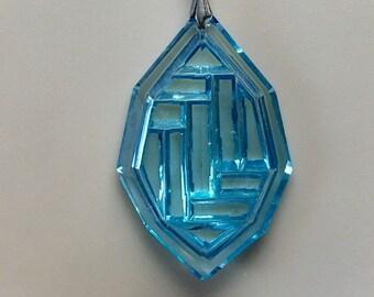 Vintage Art Deco Czech Glass Pendant Aqua Blue Pendant Maze Necklace