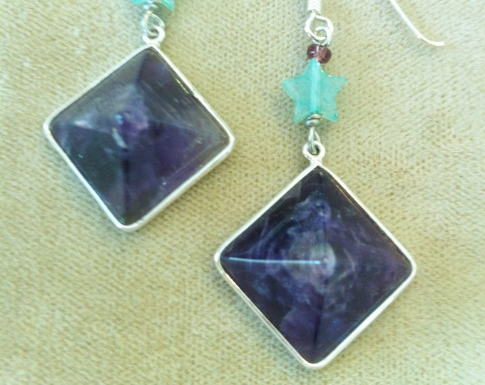 Pyramid Earrings, Amethyst Pyramid Earrings, Gemstone Pyramid, Egyptian Earrings by Lucy Isaacs Natural Amethyst Pyramid