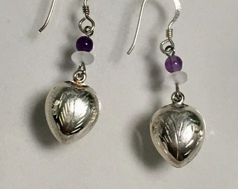Sterling Silver Etched Heart Earrings, Silver Puffy Heart Earrings, Vintage Sterling Etched Heart Earrings, Sterling Amethyst Lucy Isaacs