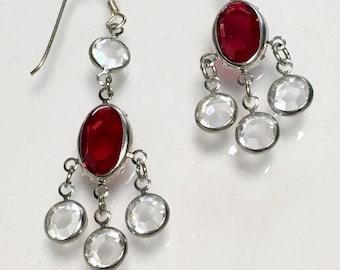 Vintage Sterling Silver Swarovski Ruby Red Crystal Earrings, Chandelier earrings, Red Earrings, Dangle Earrings by Lucy Isaacs