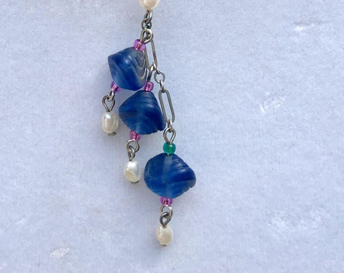 Sterling and Iridescent Glass Sea Shell Necklace