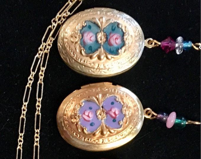 SALE! Vintage Enamel Locket, Gulloich Locket, Teal, Purple, Green, Black, Cream or Pink Lucy Isaacs