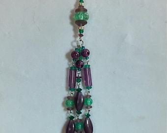 Antique Czech Glass Lariat Tassel Necklace