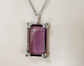Antique Art Deco Czech Glass and Sterling Pendant, Faceted Czech Glass Pendant, Purple Pendant, June Birthstone, Milestone Gift, Lucy