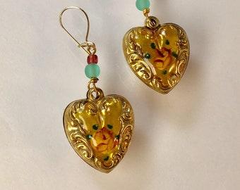 Heart Earrings, CLOSEOUT Vintage Enamel Heart Earrings, Puffy Heart Earrings, Gold Heart Earrings by Lucy Isaacs