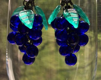 Grape Earrings, Wine Lover gift, Black Earrings, Cherry Brand, Fruit Earrings, available in Black, Pink, Cobalt Blue, Amethyst or Gre
