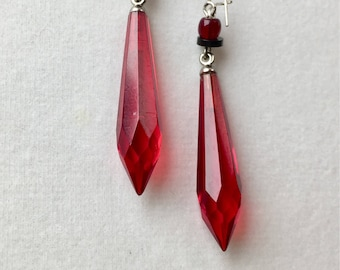 Vintage Czech Glass Earrings, Red Earrings, Ruby Glass Earrings, Red Faceted Drop Earrings, Lucy Isaacs