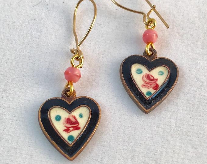 Vintage Black Enamel Heart Earrings, Vintage Hearts,  Enamel Earrings,  Heart Earrings by Lucy Isaacs