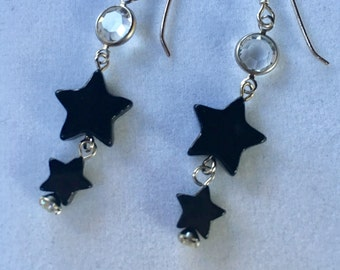 Black Onyx Earrings, Onyx Star Earrings, Black Star Earrings, Celestial Earrings, Black Agate Star Earrings by Lucy Isaacs