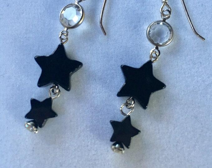 Black Onyx Earrings, Onyx Star Earrings, Black Star Earrings, Celestial Earrings, Black Agate Star Earrings by Lucy Isaacs