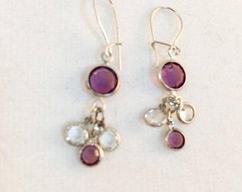Delicate Amethyst Swarovski Crystal Earrings