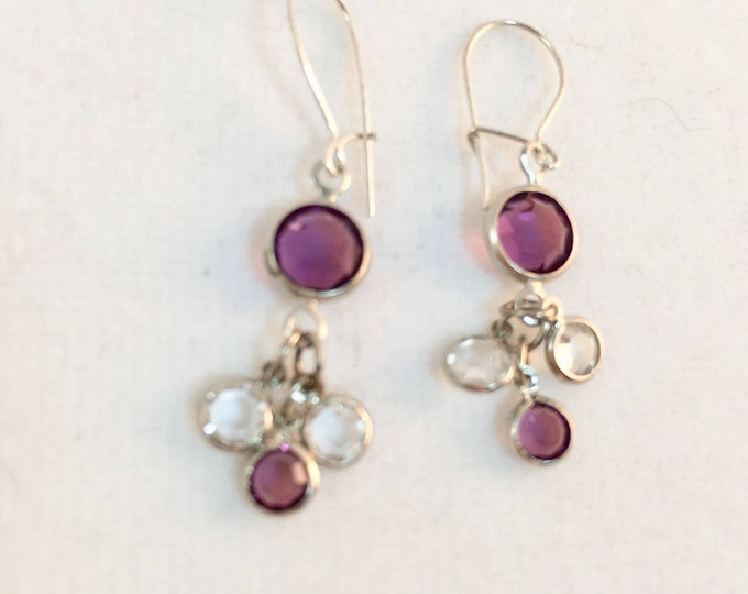 Delicate Amethyst Swarovski Crystal Earrings