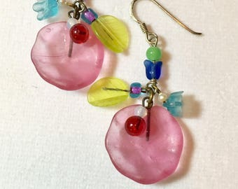 Vintage Czech Glass Earrings, Pink Earrings, Floral Earrings. Czech Glass Earrings Pink Glass Lily Pad Earrings by Lucy Isaacs