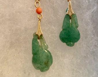 Green Jade Earrings, Coral Earrings, Vintage Green Pear Earring, Chinese Pear Earrings, Aventurine and Coral Earrings by Lucy Isaacs