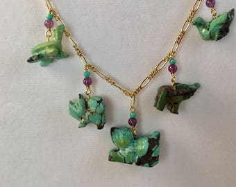 Turquoise Necklace, Animal Lover, Animal Necklace, Turquoise Animal Necklace, Pig Necklace, Elephant Necklace, Duck Necklace, Lucy Isaacs