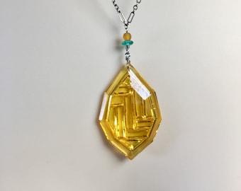 Art Deco Pendant, Vintage Art Deco Czech Glass Pendant, Lemon Yellow Pendant, Lucy Isaacs