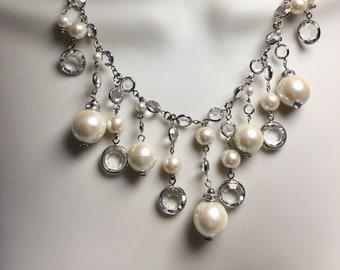 Swarovski Crystal and Pearl Bridal Necklace