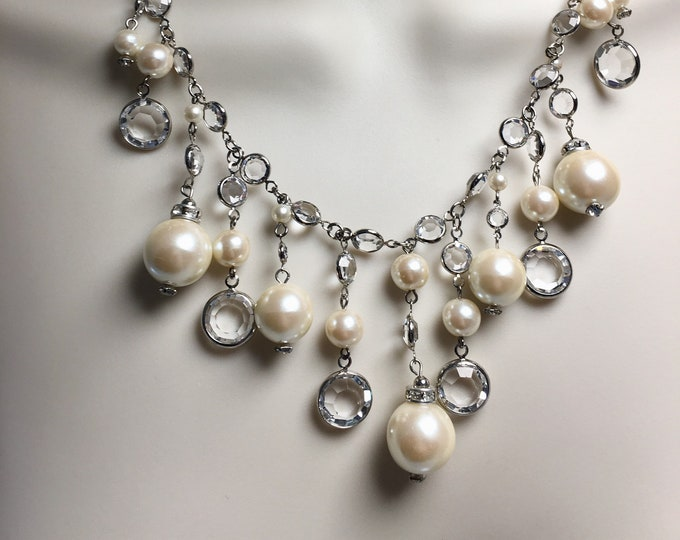 Swarovski Crystal and Pearl Bridal Necklace