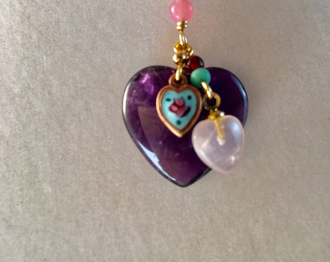 Natural Amethyst and Rose Quartz Heart Necklace