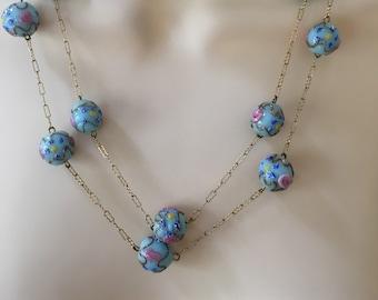 Vintage Italian Wedding Cake Bead Necklace, Vintage Murano Glass Necklace Fiorato Bead Necklace, Lamp Work Bead Necklace, Blue Necklace by L