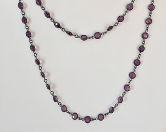 Vintage Swarovski  Necklace, Vintage Amethyst Necklace, Swarovski Crystal Necklace, Lucy Isaacs, Crystal Necklace, Handmade Jewelry