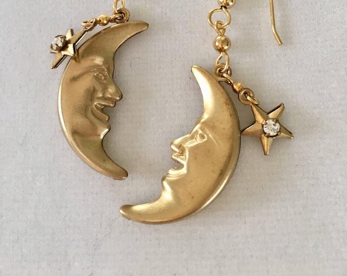 Moon Phase Earrings Vintage Man in the Moon Crescent Earrings Moonface Earrings Celestial Earrings Galaxy earrings Celestial Jewelry