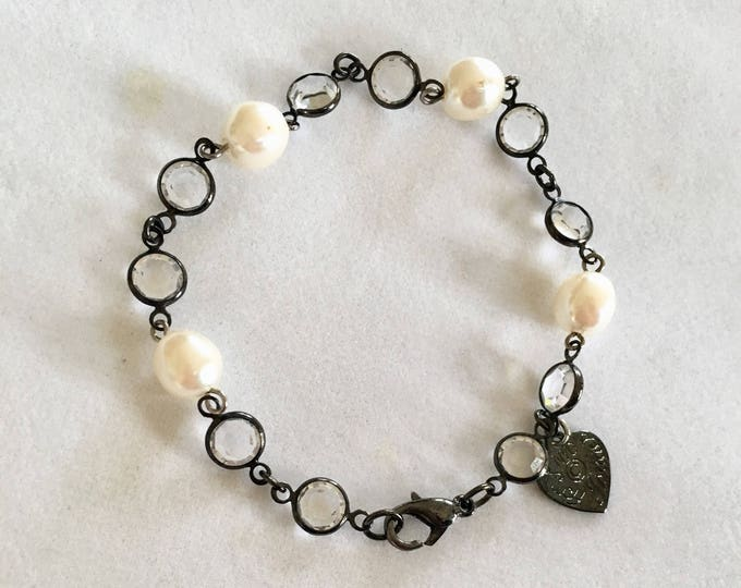 Vintage Swarovski Pearl and Crystal Bracelet by Lucy Isaacs