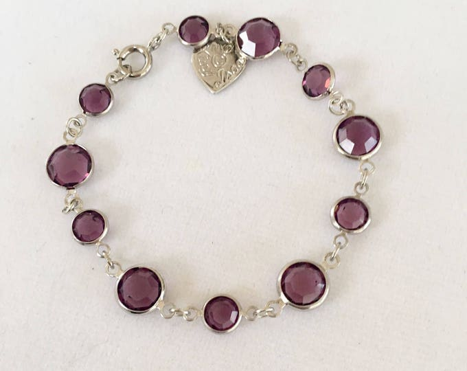 Vintage Amethyst Swarovski Round Bracelet by Lucy Isaacs