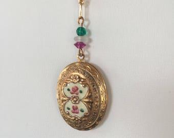 SALE!  Vintage Enamel Locket, Guilloche Gold Locket, Cream Floral Locket, Vintage Locket, Hand Painted Locket Lucy Isaacs