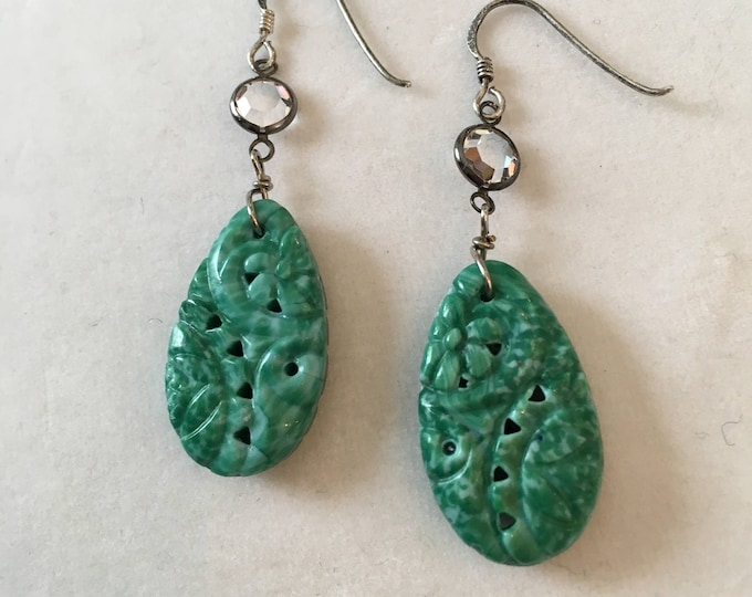 Vintage Pressed Glass Earrings, Green glass Earrings, Pierced Mottled Green Glass Earrings,Lucy Isaacs