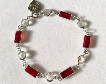 Red Crystal Bracelet Vintage Ruby Red Swarovski Bracelet by Lucy Isaacs