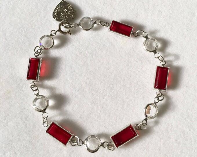 Red Crystal Bracelet Vintage Ruby Red Swarovski Bracelet by Lucy Isaacs