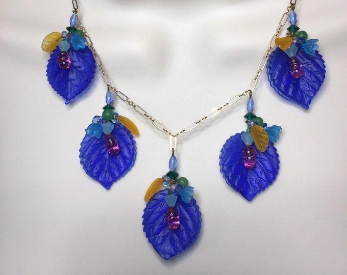 Vintage Pressed Glass Leaf Necklace, Cobalt Necklace, Vintage Art Glass Necklace, Blue Necklace