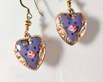 Vintage Enamel Heart Earrings, Puffy Heart Earrings, Lavender and Gold Heart Earrings by Lucy Isaacs, Purple Earrings