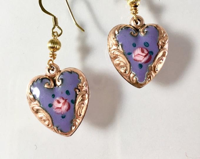 Vintage Enamel Heart Earrings, Puffy Heart Earrings, Lavender and Gold Heart Earrings by Lucy Isaacs Mothers Day