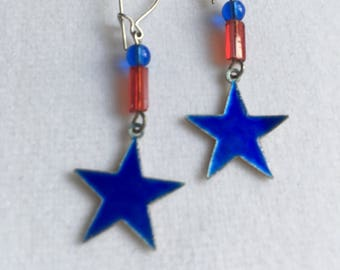 Patriotic Enamel Red and Blue Star Earrings by Lucy Isaacs