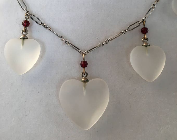 Sterling Frosted Glass and Garnet Heart Necklace