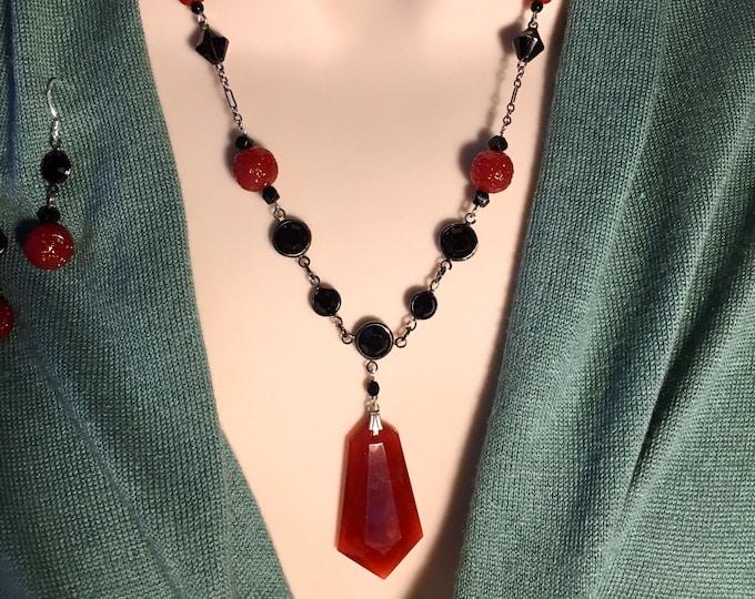 Vintage Deco Necklace, Carnelian Necklace, Deco Necklace, Vintage Czech Glass Necklace, Vintage Czech Glass Necklace, Black Czech Glass,