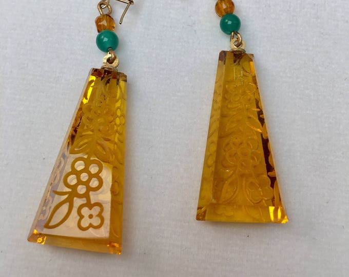 Vintage Czech Glass Earrings, Amber Earrings, Vintage Earrings, Art Deco Etched Glass Earrings, Intaglio Earrings, Lucy Isaacs