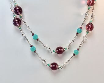 Antique Czech Glass Sterling Rope Necklace