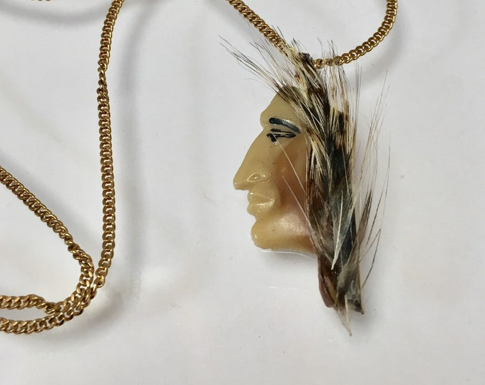 Vintage Native American Indian Pendant Indian Head Pendant 'Indigenous People Pendant, Hand Painted Porcelain Pendant Lucy Isaacs