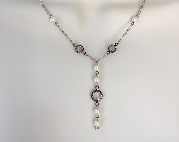 Pearl Necklace, Swarovski Crystal and Pearl Y Necklace, Crystal Necklace, Amethyst Necklace, Lucy Isaacs