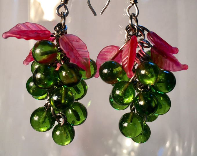 Wine Lover Gift, Antique Olive Green Glass Grape Cluster Earrings, by Lucy Isaacs available in Black, Pink, Cobalt Blue, Amethyst or Green