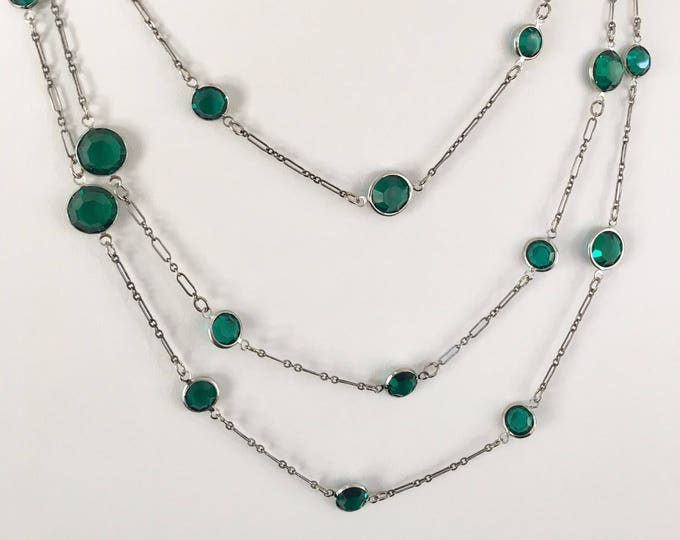 Crystal Channel Necklace, Crystals by the Yard, Long Sterling Silver, Emerald Green,  Swarovski, Sterling Station Necklace