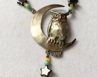 Vintage Sterling Silver Owl on a Crescent Moon Swings Under Onyx Stars Necklace by Lucy Isaacs